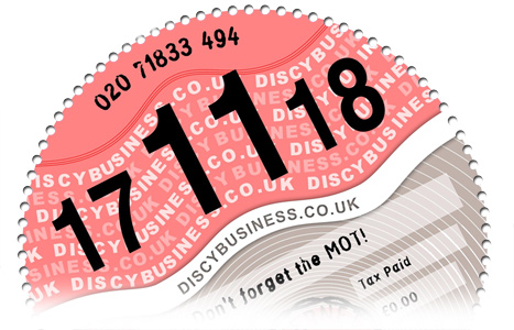 Sample of a car tax reminder disc from Discy Business